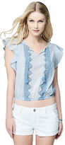 Aeropostale Womens Cape Sheer Juby Flutter Sleeve Stripe Top