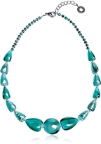 Antica Murrina Veneziana Marina 2 Basic - Turquoise Green Murano Glass and Silver Leaf Choker
