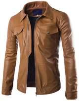 LJYH Men's Lapel Double pocket Motorcycle Faux leather Jacket