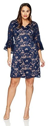 Adrianna Papell Women's Size Plus Carol Lace Ruffle Sleeve Dress