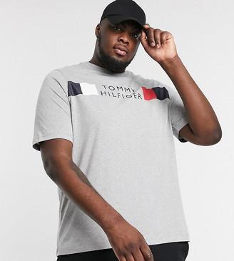 Tommy Hilfiger Big & Tall icon stripe logo chest t-shirt in medium grey heather