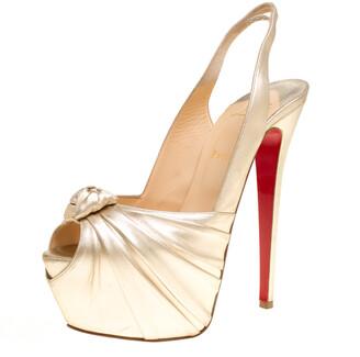 Christian Louboutin Gold Leather Miss Benin Knotted Platform Slingback Sandals Size 40
