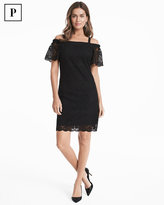 White House Black Market Petite Off The Shoulder Black Lace Shift Dress