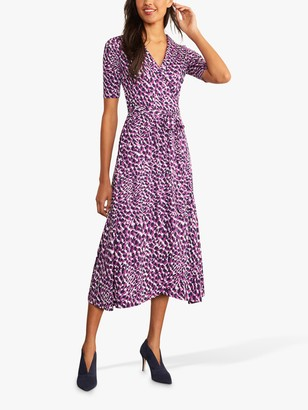 Boden Lavinia Abstract Animal Print Wrap Dress, Purple