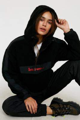 Urban Outfitters Iets Frans... iets frans. Fleece Popover Black Hoodie - black XS at