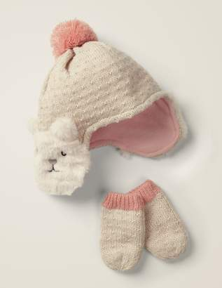Knitted Hat & Mittens Set