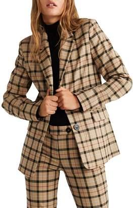 MANGO Checkered Long-Sleeve Blazer
