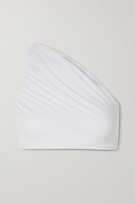 Norma Kamali Diana Cropped One-shoulder Stretch-jersey Top - White