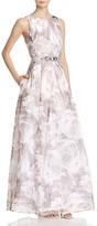 Eliza J Floral-Print Organza Gown