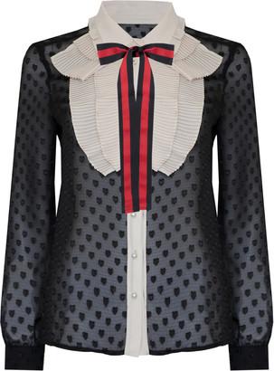 Jovonna London Black Guccify1 Ribbon Ruffled Top - UK8 - Black/Red/Brown