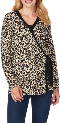 Foxcroft London Leopard Wrap Cardigan