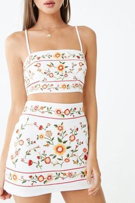Forever 21 Floral Embroidered Mini Skirt