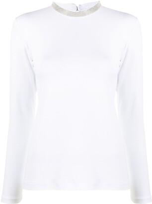 Fabiana Filippi beaded collar T-shirt