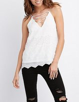 Charlotte Russe Embroidered Lattice-Front Tank Top
