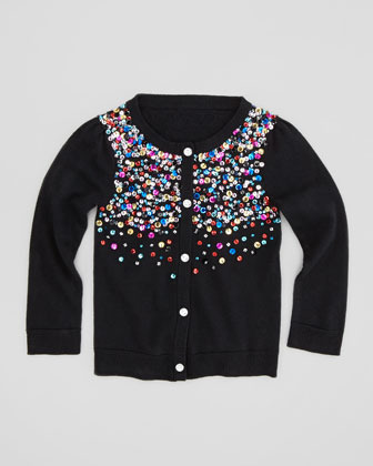 Milly Minis Multi-Sequin Knit Cardigan, Black, Sizes 2-6
