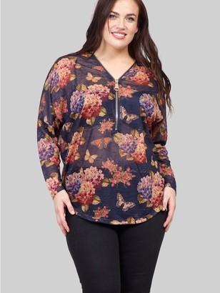 M&Co Izabel Curve floral zip front sweater