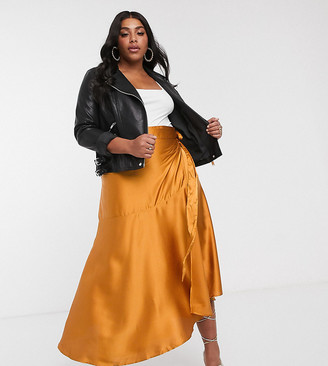 Unique21 Hero Unique 21 ruffle satin wrap skirt in rust
