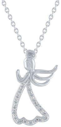 FINE JEWELRY Warrior Womens Diamond Accent Genuine White Diamond Sterling Silver Angel Pendant Necklac