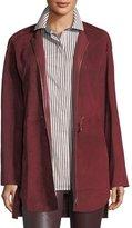 Lafayette 148 New York Linea Zip-Front Suede Jacket