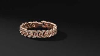 David Yurman Curb Chain Bracelet In 18K Rose Gold With Cognac Diamonds