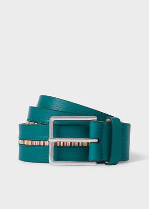 Paul Smith Men's Turquoise Leather Belt With 'Signature Stripe' Insert