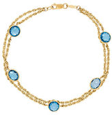 Lord & Taylor Blue Topaz and 14K Yellow Gold Bracelet