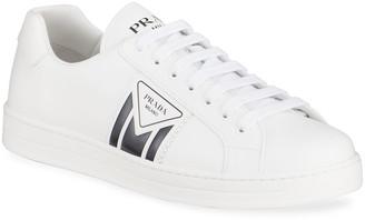 Prada Men's Two-Tone Logo Leather Sneakers