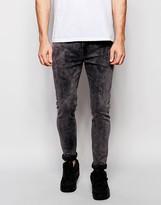 Asos Super Skinny Jeans In Gray Acid Wash