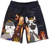 Dolce & Gabbana Dogs Printed Cotton Sweat Shorts