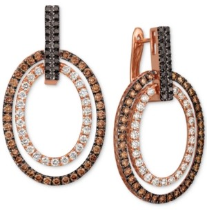 LeVian Le Vian Chocolate Layer Cake Blackberry Diamonds, Chocolate Diamonds & Nude Diamonds Hoop Earrings (3 ct. t.w.) in 14k Rose Gold