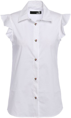 Love Moschino Ruffled Stretch-cotton Poplin Shirt