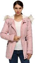 ACEVOG Women Classic Hoodie Pea Coat Jacket Outwear with Faux-Fur Trim