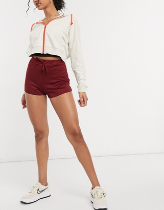 Street Collective mix and match jogger shorts in burgundy