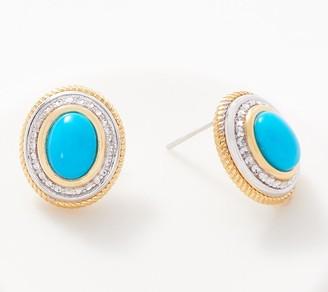 Cabochon Gemstone Earrings, Sterling Silver & 14K Plated