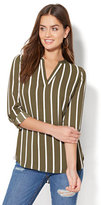 New York & Co. Soho Soft Shirt - Split-Neck Popover Blouse - Stripe