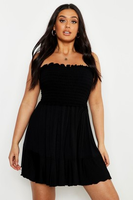 boohoo Plus Shirring Bandeau Beach Skater Dress