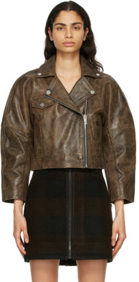 Ganni Brown Leather Washed Perfecto Jacket