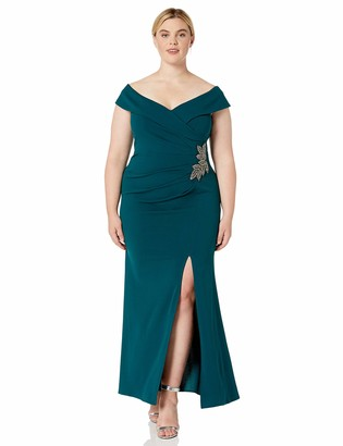 Alex Evenings Women's Plus Size Long Off The Shoulder Fit and Flare Dress