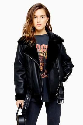 Topshop Womens Petite Black Leather Look Biker Jacket - Black
