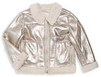 Design History Girl's Faux Fur-Accented Metallic Jacket