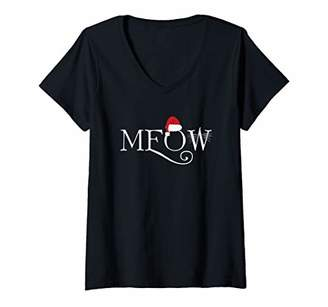 Womens Meow Cat Kitten Santa Hat Christmas V-Neck T-Shirt