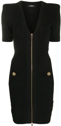 Balmain Zip-Up Ribbed-Knit Dress