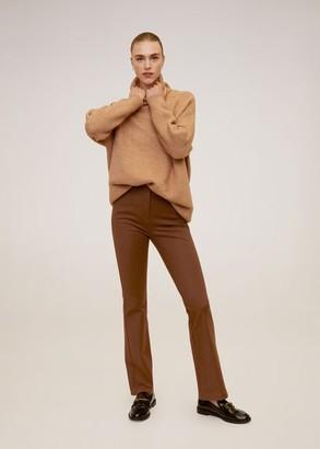 MANGO Flared cotton pants cognac - 4 - Women