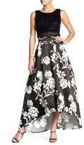 City Triangles 2-Piece Sequin Crop Top & Floral Hi-Lo Skirt Set