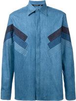 Neil Barrett stripe panel shirt - men - Silk/Cotton/Polyester - 41