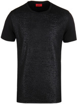 Hugo Desert Black Embossed Snake Print Short Sleeve T-shirt