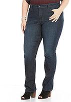 NYDJ Plus Marilyn Straight Leg Embellished Back-Pocket Jeans