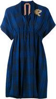 No.21 bird patch-embellished plaid dress - women - Cotton/Linen/Flax - 42