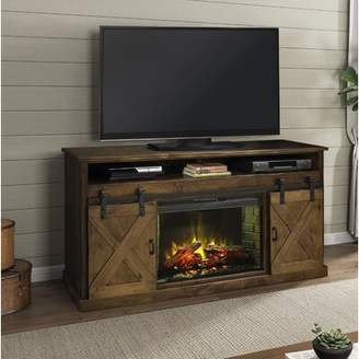 Loon Peak Pullman TV Stand for TVs up to 75 inches with Electric Fireplace Included Loon Peak Color: Aged Whiskey