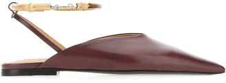 Jil Sander Pointed Toe Slingback Flat Shoes